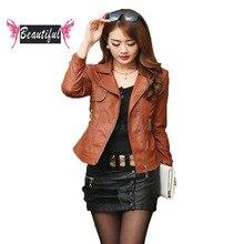 New 2016 Autumn women faux leather jacket casaco feminino casual long sleeve turn down collar basics plus size short moto jacket