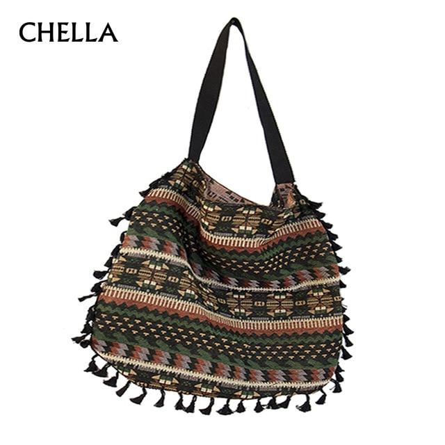 b806e3df60a7 Aliexpress.com   Buy Women Vintage Shoulder Bag Tassel Ethnic Retro Casual  Tote Female Folk Boho Shopping Bag Knitting Woven Lady Handbag SS0379 from  ...