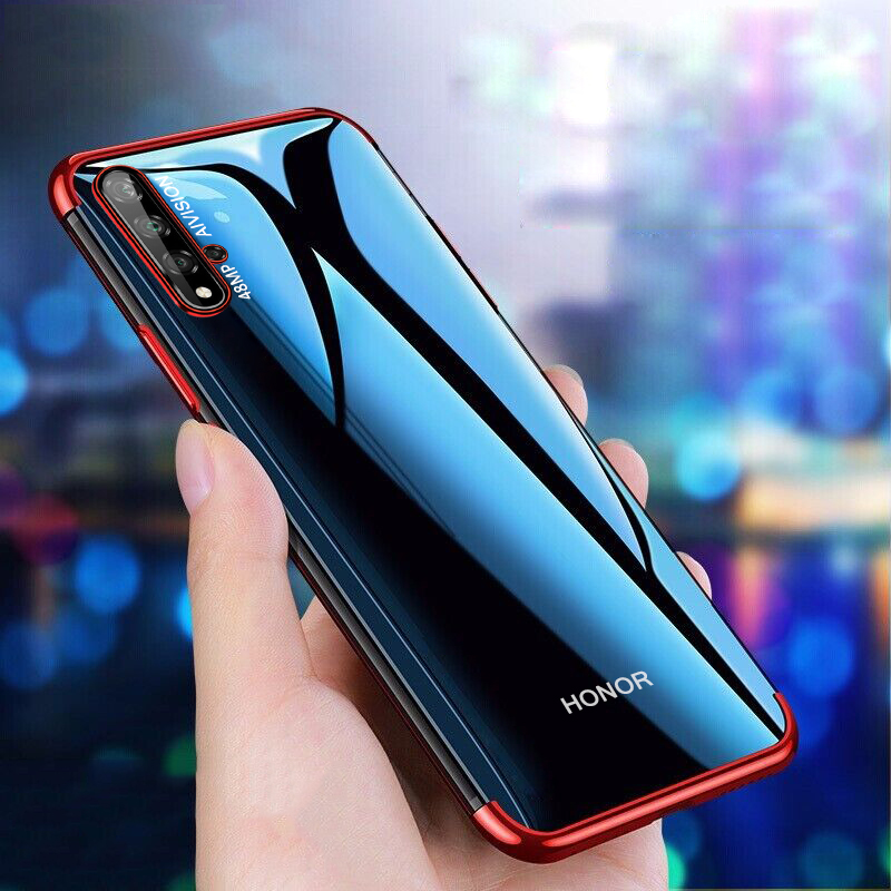 For Huawei Honor 20 Pro Case Clear Transparent Plating Cover Soft TPU Silicone Case for Honor 20 Shockproof Bumper Case