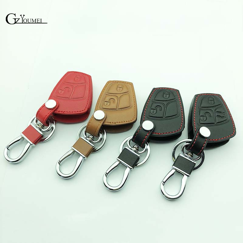carLeather Car Key Case Cover for Mercedes For Benz W203 W210 W211 amg W204 C E S CLS CLK CLA SLK Classe Smart Car Keychain image