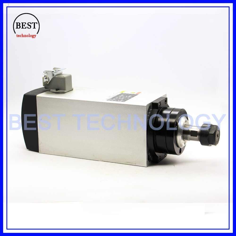Motor de husillo cuadrado de 4 KW, motor de husillo refrigerado por aire para enfriamiento de aire, motor de eje de enrutador CNC 220v AC ER20 4 Uds rodamientos
