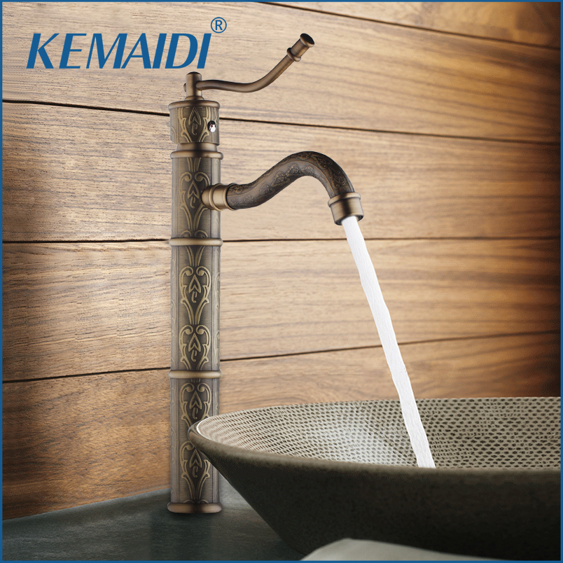 KEMAIDI High Quality Antique Brass Bathroom Sink Basin Faucet Water Tap For Bathroom And Kitchen Mixer Deck Mounted deck mounted high quality brass kitchen tap faucet