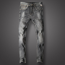 Black Gray Fashion Classical Jeans Men Cotton Slim Fit Casual Pants Italian Designer High Quality Ripped Homme