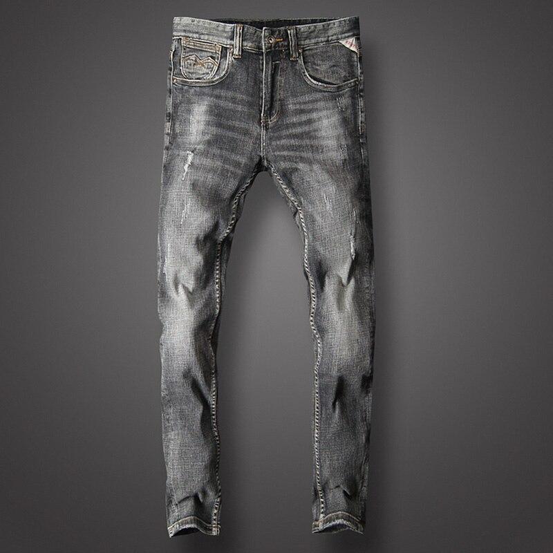 ff88cfefb95ce Homme Slim Déchiré Classique Mode Casual Pantalon Designer Fit Qualité  Coton Jeans Italien Noir Haute Hommes ...