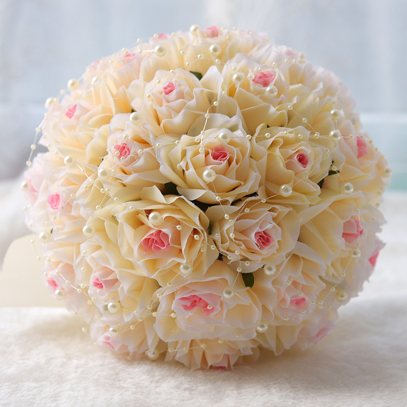 Rose Wedding Bouquets 2018 Handmade Bridal Flower Wedding Party Gifts Wedding Accessories Flowers Pears beaded with Ribbon S127