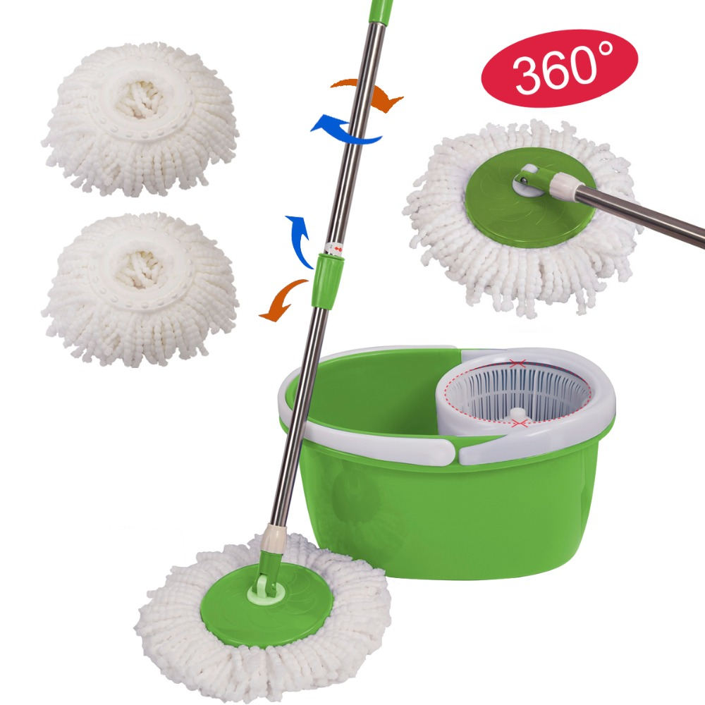 Goplus 2017 Portable Magic Floor <font><b>Mop</b></font> 360 Bucket 2 Heads Microfiber Spin Spinning Rotating Head Household Floor Cleaning CL11435