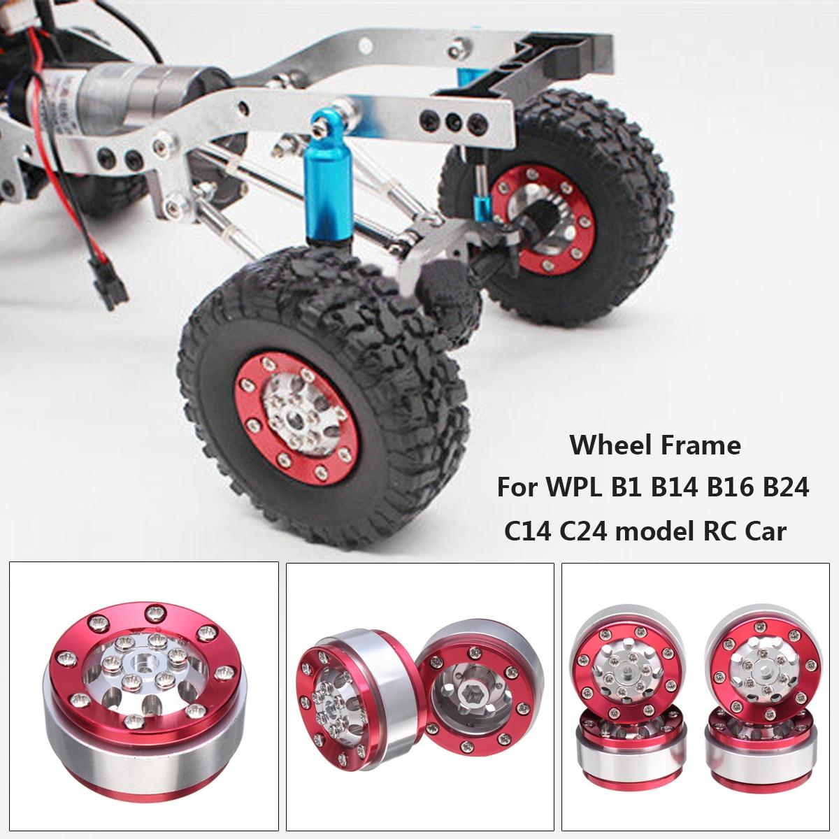 Upgrade Metall Rad Rahmen Ersatzteile Set mit Schrauben Set Für WPL B1 B14 B16 B24 C14 C24 RC Auto silber + Rot Helle Farbe