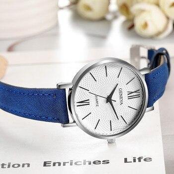 #5001 Ffashion Leisure Creative Woman Watch Fashion Leather Military Casual Analog Quartz Wrist Watch Business Watches