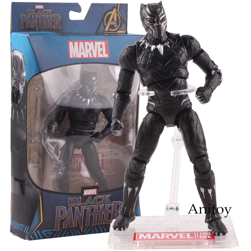 Marvel Action Figures Black Panther Toys PVC Black Panther Marvel Comics Collectible Model Toy 17cm