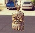 Alta qualidade banhado a ouro pedaço jesus e cabeça de leão micro pave jóias hip hop colar, cadeia de caixa de ouro mens colar pingente
