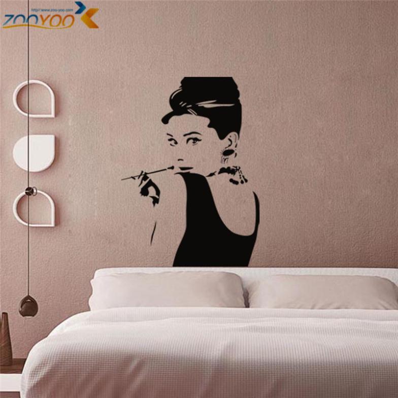 Audrey Hepburn Wall Stickers Wall Decals Bedroom Home Decorations ...