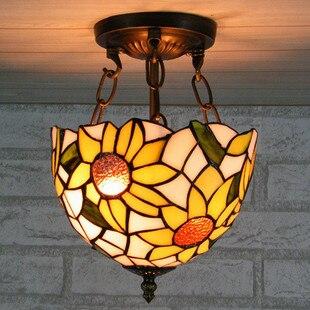 tiffany sun flower style hallway pendant light balcony Didifanni glass decorative ceiling lamp 8inch браслет из кости яка sun flower коричневый 7 5см браслет из кости яка sun flower коричневый 7 5см