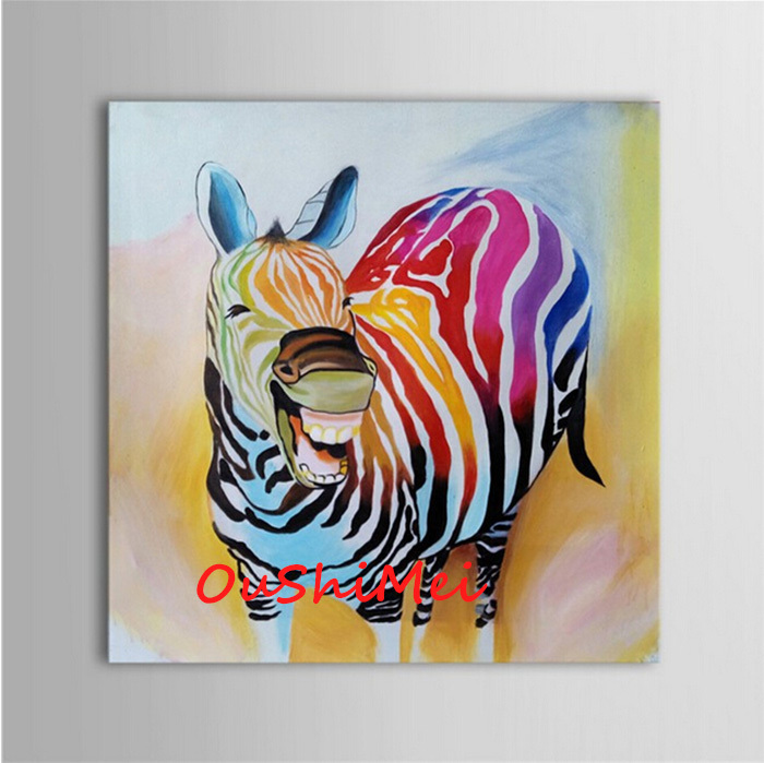 3 Teilige Leinwand Hand Painted Modern Colours Zebra Picture Funny Animals