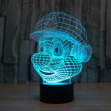 Creative illusion Lamp 3D LED Night Light Super Mario Acrylic 7 Color Gradient Atmosphere Lamp Novelty Lighting Lampara Gift