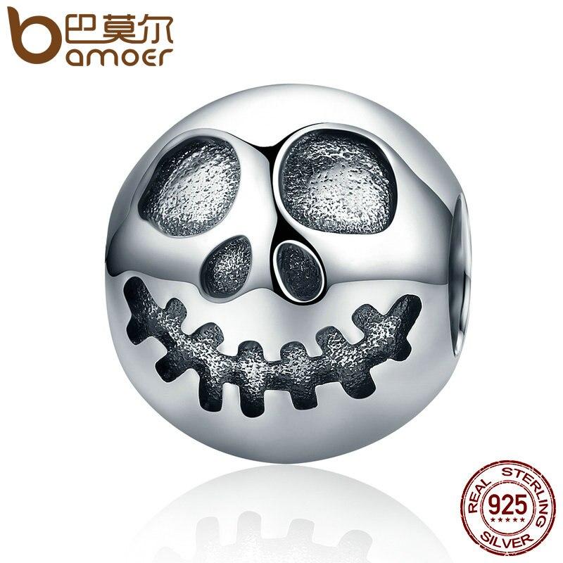 BAMOER Authentique 100% 925 Sterling Argent Fantôme Visage Crâne Tête Perles de Charme fit Bracelets Bijoux Halloween Cadeau SCC181
