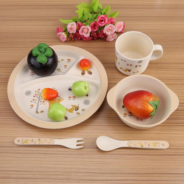 5 Pcs/set Baby Feeding Dishes Food Container Bamboo Fiber Children Tableware for children baby & 5 Pcs/set Baby Feeding Dishes Food Container Bamboo Fiber Children ...