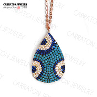 Luxury Lab-created Turkois CZ Paved Big Size Hamsa Evil Eye Genuine 925 Sterling Silver Pendant Necklace