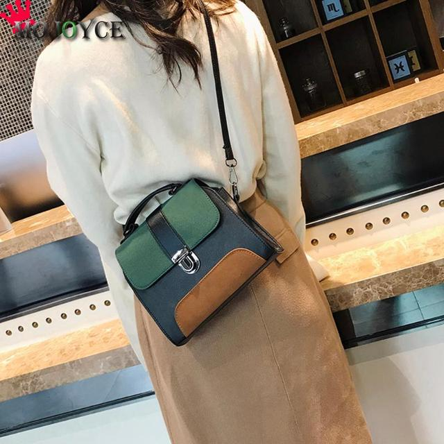 Casual Women PU Leather Sling Handbag Girls Crossbody Bag Patchwork Color Messenger Shoulder Bag Female Handbag 5