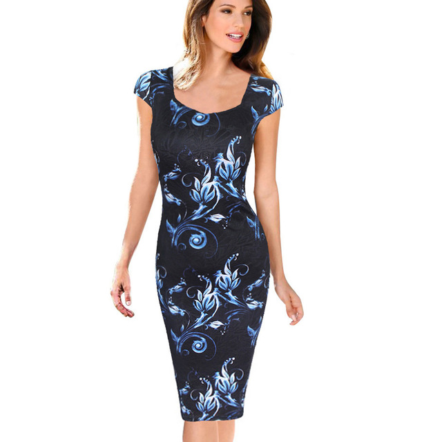 Free Shipping Fashion Women Dress Elegant Floral Print Cap Sleeve