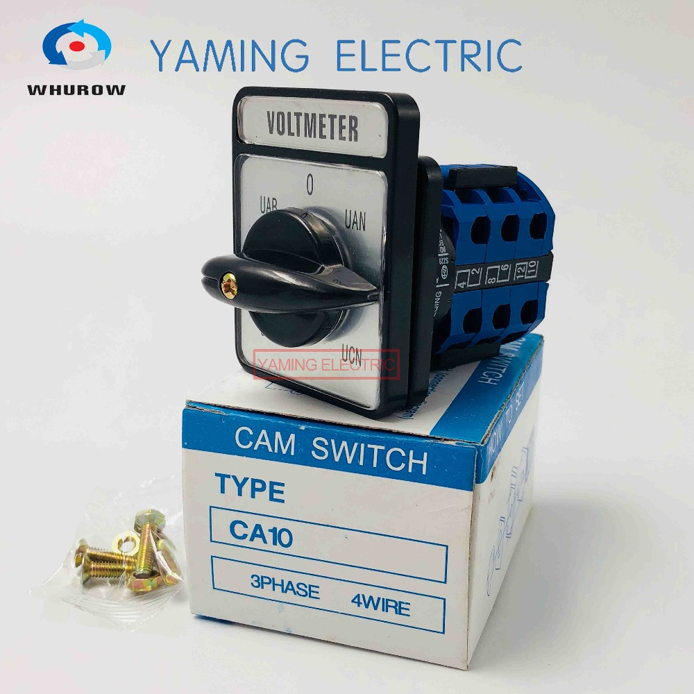 CA10 Voltmeter selector Cam switch 3 phase 4 wire 7 position 20A 660V Changeover rotary switch 12 terminals LW26 electric rotary selector 4 position 6 terminal changeover switch 20a 660v