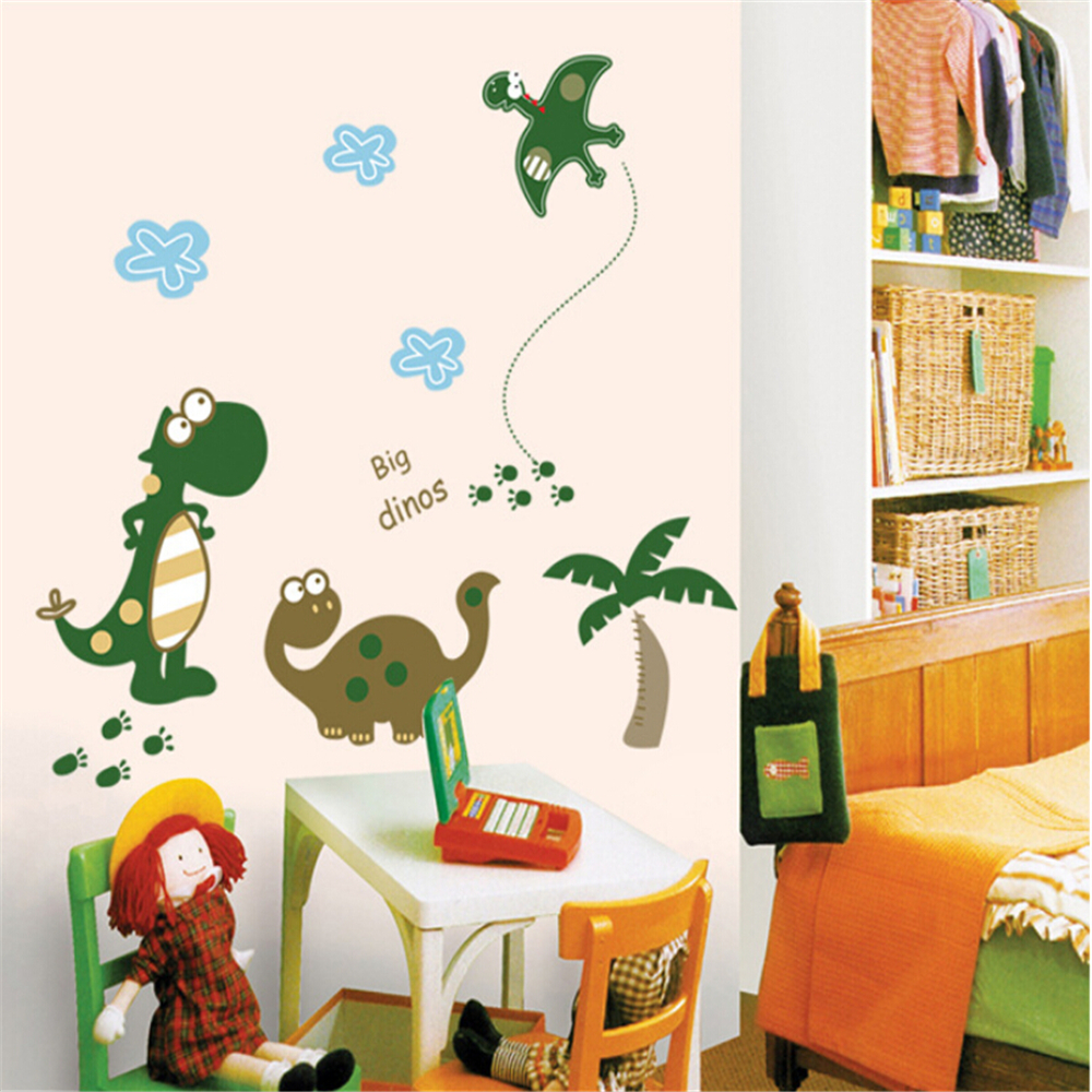 Cartoon Happy Dinosaur vinyl wall stickers for kids rooms children home  decor sofa living wall decal