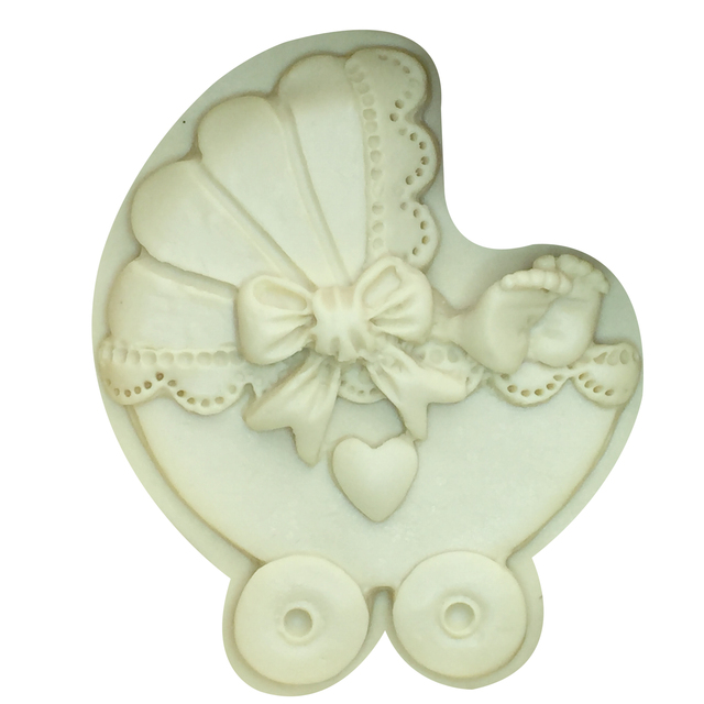 M911 Sugarcraft Baby car Carriage Silicone mold Bow tie fondant mold cake decorating tools chocolate gumpaste mold