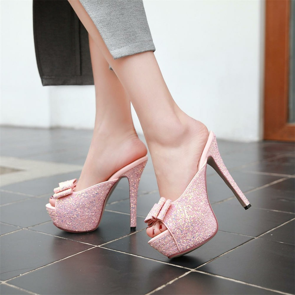 Dilalula Hot Sale Fashion Glitters Platform Mules Women For Party Summer 2019 Super High Heels Pumps Shoes Woman 32-43Dilalula Hot Sale Fashion Glitters Platform Mules Women For Party Summer 2019 Super High Heels Pumps Shoes Woman 32-43