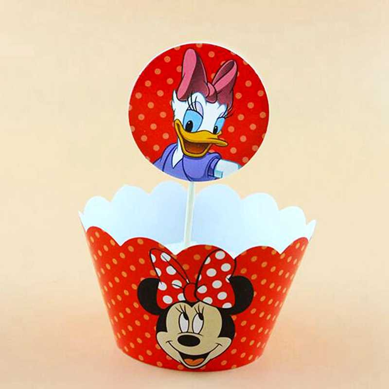 24pcs Cupcake Wrappers Topper Red Minnie Mouse Donald Duck Theme Party Decoration kids Girl Baby Shower Birthday Cake Supplies