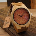 BOBO BIRD Red fire Painted Handmade Men's Wood Wristwatches Men's Luxulry Dress Watches Japanses Movement Quartz Wood Watches