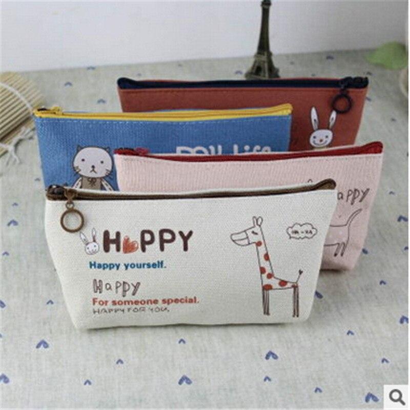 New Cute Cartoon Kawaii Pencil Case Print Animal Canvas Pencil Bag For Kids School Supplies Material Korean Stationery  W2.25