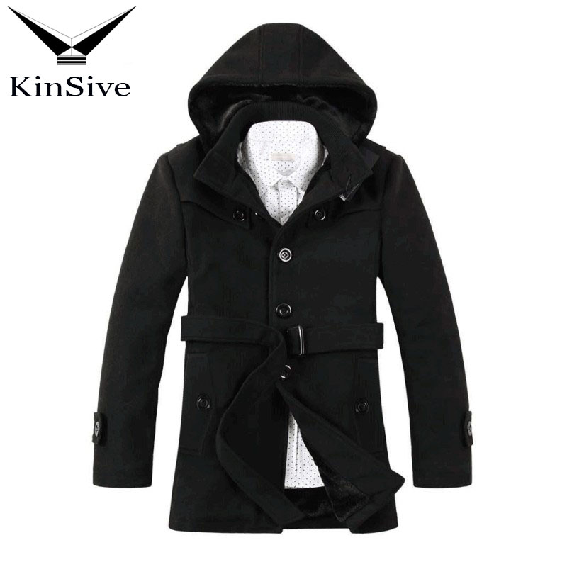 2018 New Winter Long Trench Coat Men Windbreak Fashion Mens Overcoat Wool Liner Quality Thick Warm Trench Coat Male Jackets new men s military style casual fashion canvas outdoor camping travel hooded trench coat outerwear mens army parka long jackets