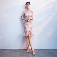 Traditional Chinese Dress Qipao Pink Ladies Evening Dresses Vintage Cheongsam Women Bride Short Lace Cheongsam Plus Size Modern