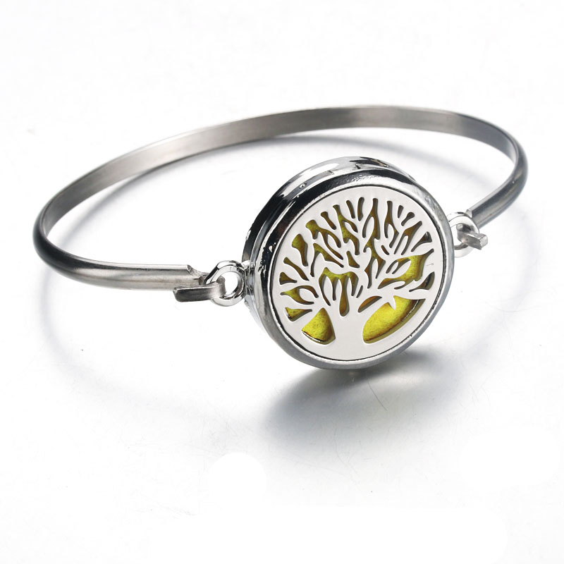 Tree of Life Stainless Steel Bracelet Essential Oil Bracelet Locket Perfume Diffuser Bracelet 30mm Bangle Silver Bracelet 010409