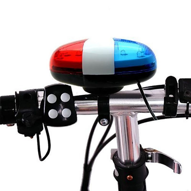 Bicycle Bell 6LED 4Tone Horn Police Car LED Bikes Light Electronic Siren for Kids Bike Accessories Scooter