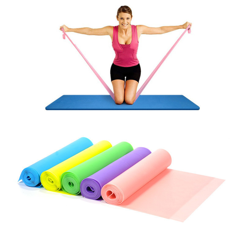 Yoga Pilates Stretch Resistance Band Exercise Fitness Band Training Elastic Exercise Fitness Rubber 145cm High Quality