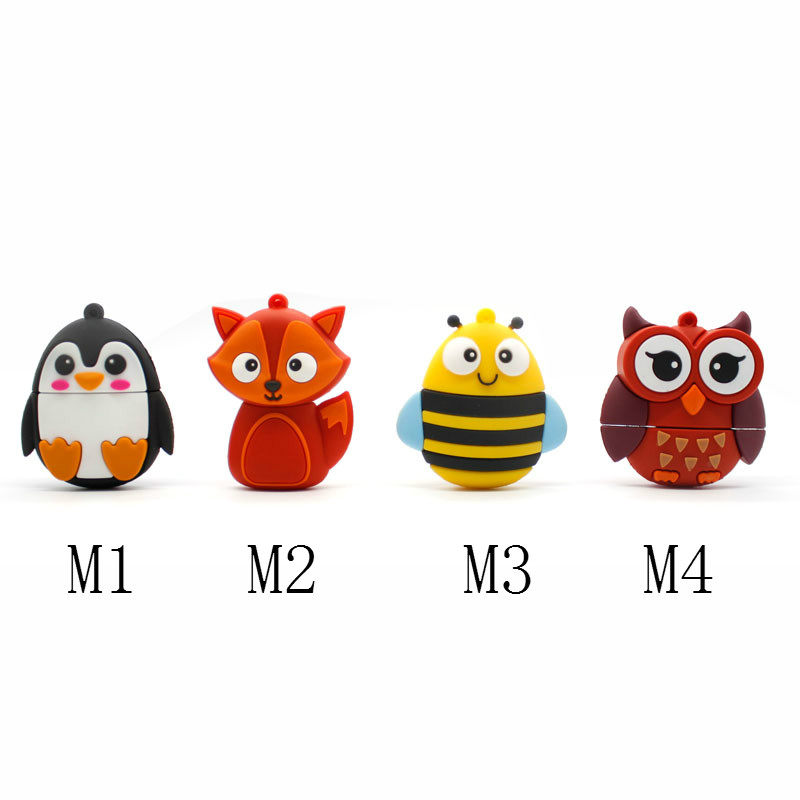 Pendrive Bee usb flash drive Penguin pen drive Fox memory flash Red Owl USB Flash 4gb 8gb 16gb 32gb Flash Drive 64gb key usb