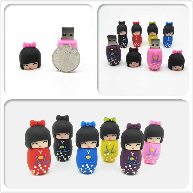 100% Real Kapasitas Indah Gadis Geisha USB Flash Drive Flashdisk Lucu Pen Drive USB 2.0 4 GB 8 GB 16 GB 32 GB Hadiah Fashion