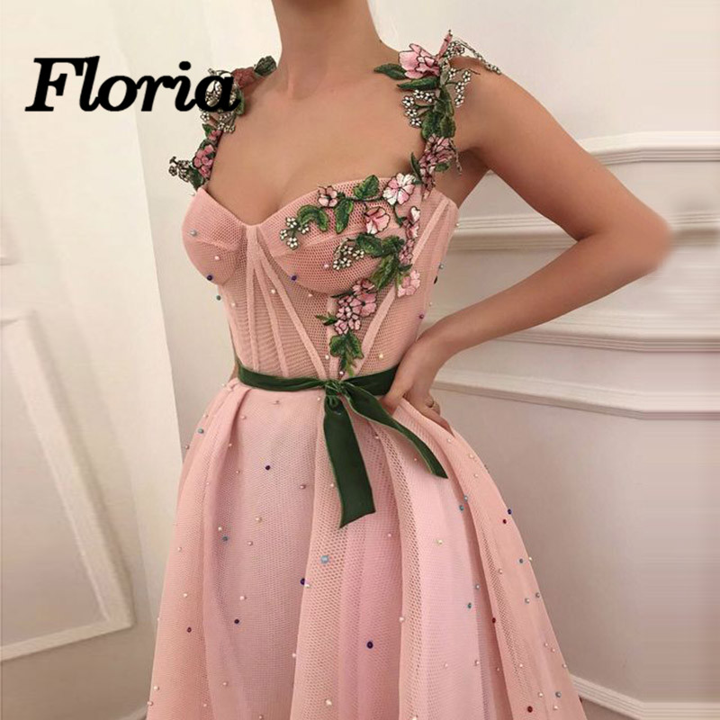 Arabic Muslim Pink Evening Dresses Sparkle 3D Flower Long Formal Prom Dress  Party Gowns 2018 Robe de soiree Moroccan Kaftans-in Evening Dresses from ... 9893636111a7