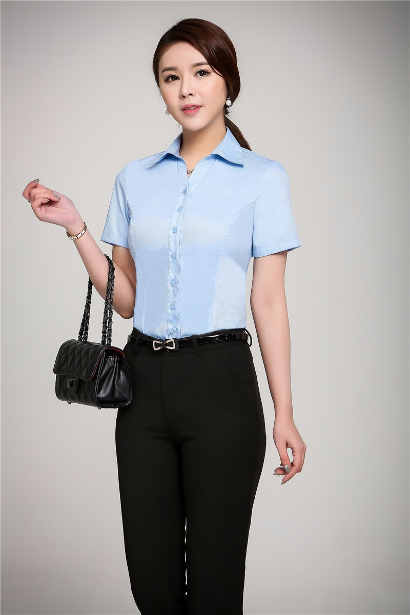 4f5b5eec301e8 Formal Uniform Design Summer Professional Female Pantsuits With Tops ...