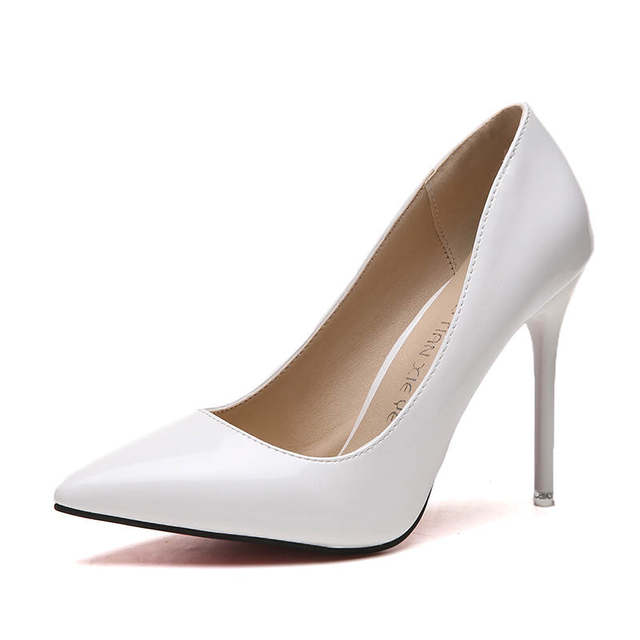 2019 HOT Women Shoes Pointed Toe Pumps Patent Leather Dress  High Heels Boat Shoes Wedding Shoes Zapatos Mujer Blue White 32