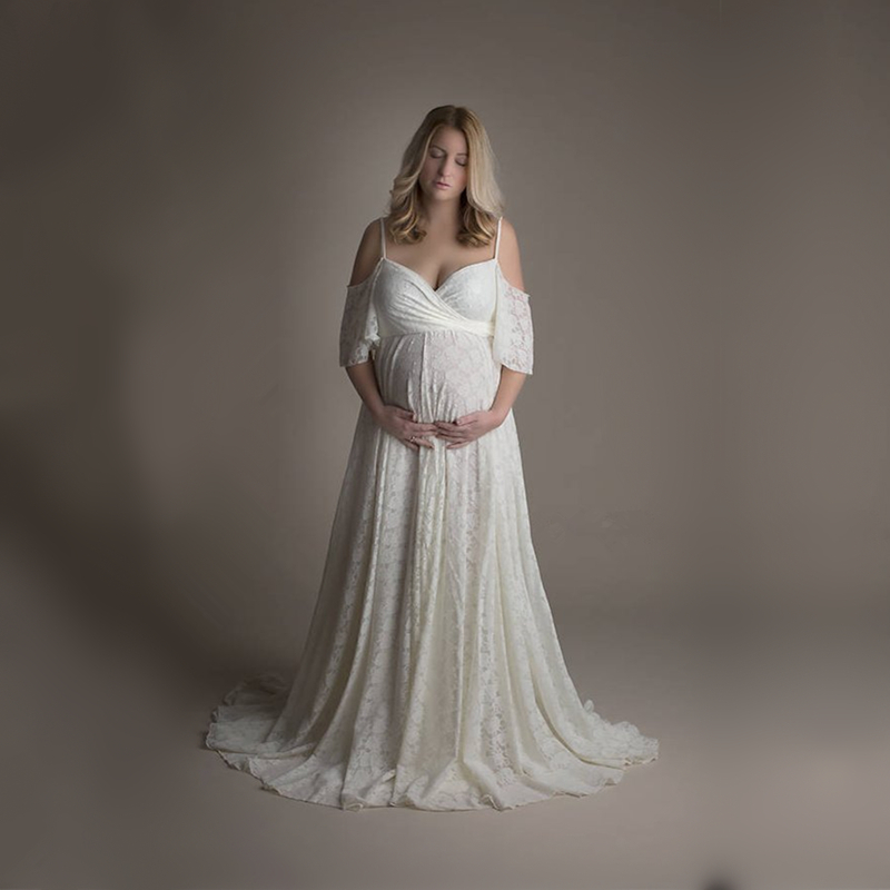 Le Couple Maternity Lace Photo Long Dress Slip Strap Sleeve Pregnancy Photography Props Dress Baby Shower Lace Dress criss cross lace panel long sleeve dress