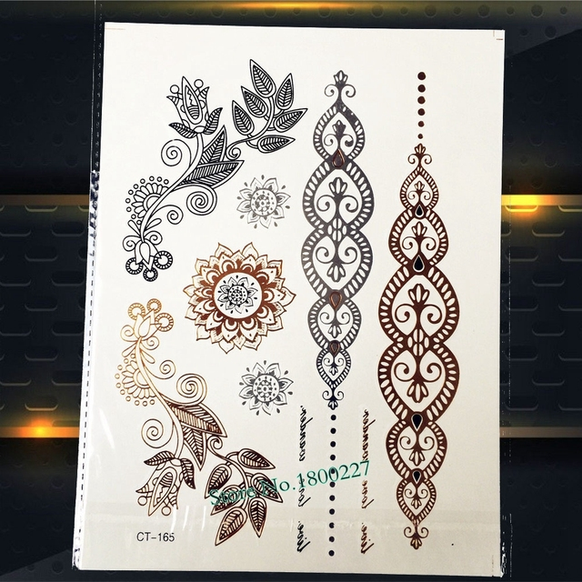 1pc Hot Sale Henna Gold Flower Temporary Tattoo Large Size