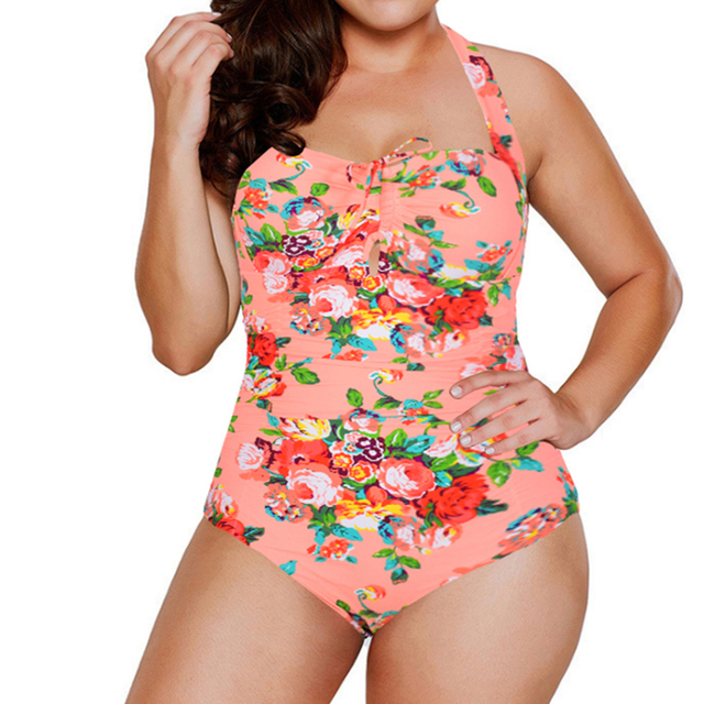 Plus size  women swimsuit one piece swimwear push up print Monokini bathing suit bandeau swimming suit for women Large size 5XL 1