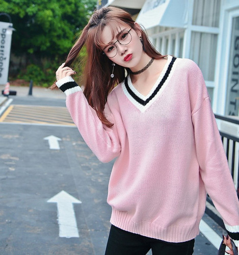 81d9538ce6 Sweaters Fashion 2018 Fall Winter Women Korean Style Striped V Neck Long  Sleeve Knitted Pullover Pink