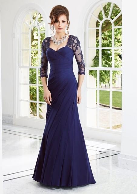 Marineblau Mutter Der Braut Kleider Applique Sleeve Abendkleider ...