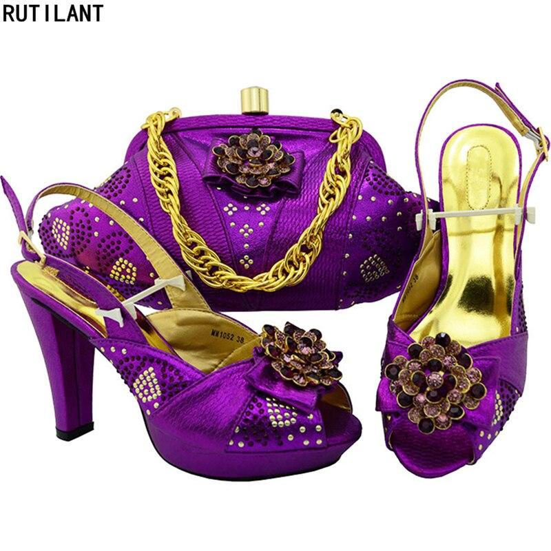 Nueva Juego De Bolso Africanas Las Boda blue Bolsa Con Purple Rhinestone Llegada Sistema green A Mujeres El plata Del Zapatos Los Y Bolsos rfx6r8