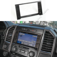 Wooden Grain/ Black Wooden Grain ABS Dashboard Navigation Navi Frame Decor Decal Cover Trim For Ford F150 2015+ Car Styling