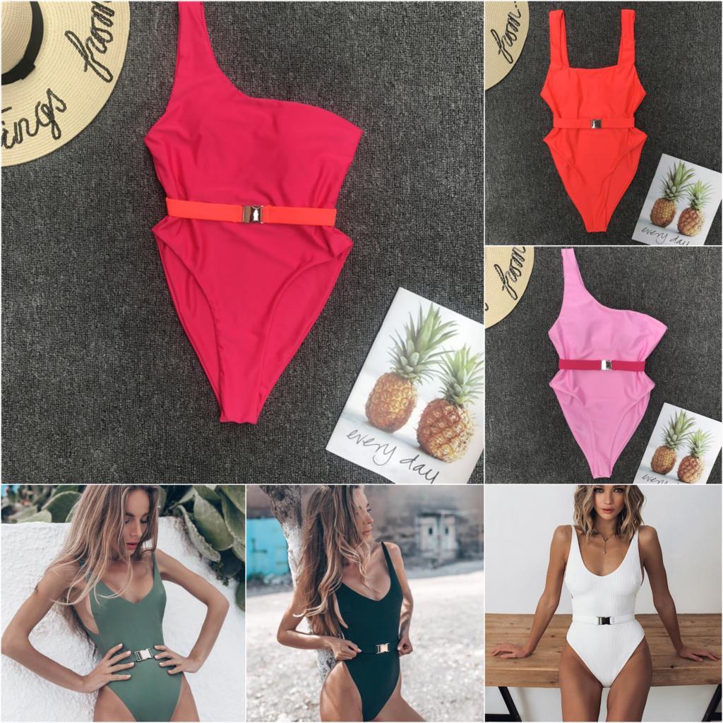 2019 Maillot De Bain Badpak traje De baño mujeres Sexy Pure Color De una pieza traje De baño De Metal cinturón traje De baño para las mujeres