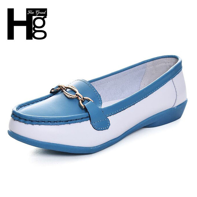HEE GRAND Breathable Genuine Leather Women Shoes Comfortable Patch Flexible Driving Loafers Slip-on Peep Toe Women Flats XWC306