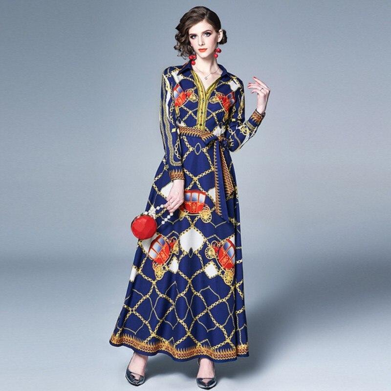Многоцветный цепи печати Sash Макси платье Для женщин V шеи длинным рукавом летние Винтаж элегантное платье с длинным рукавом Boho Пляжное длин